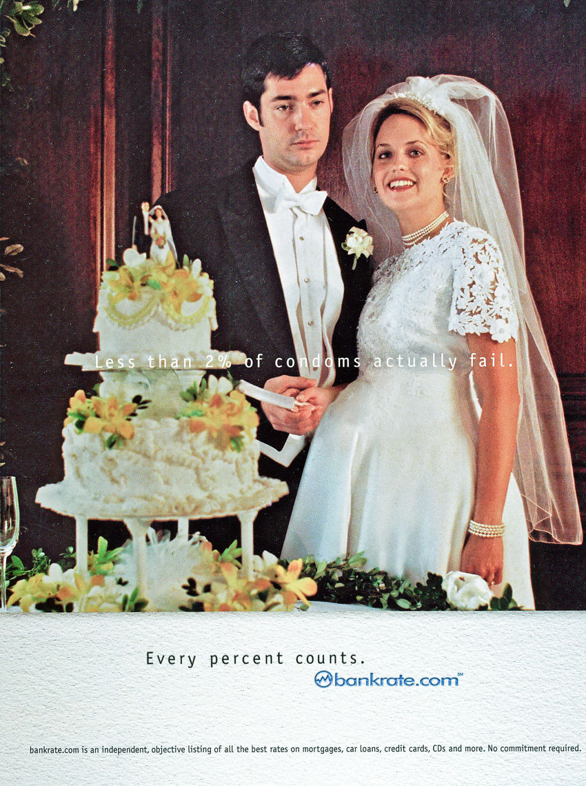 Ad for Bankrate.com, pregnant bride, agency- Crispin Porter + Bogusky USA