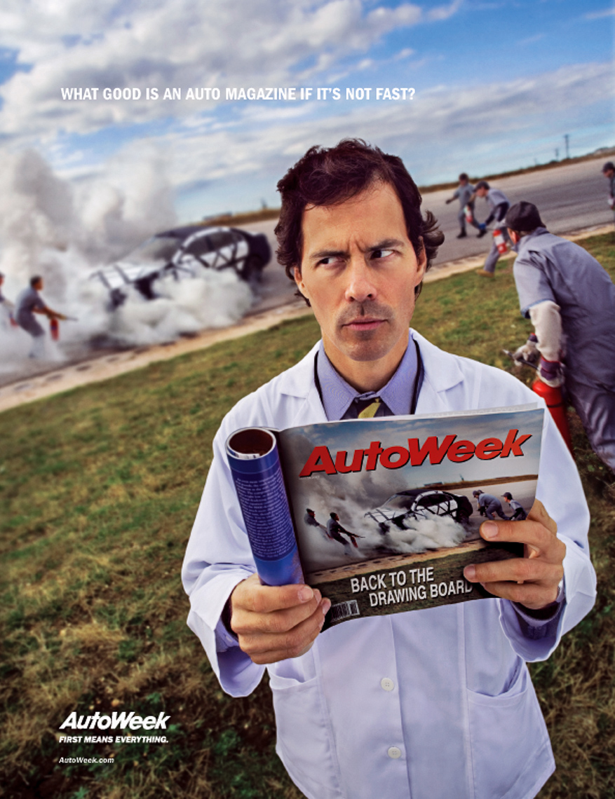 Ad For AutoWeek, car fire, agency- Team Detroit