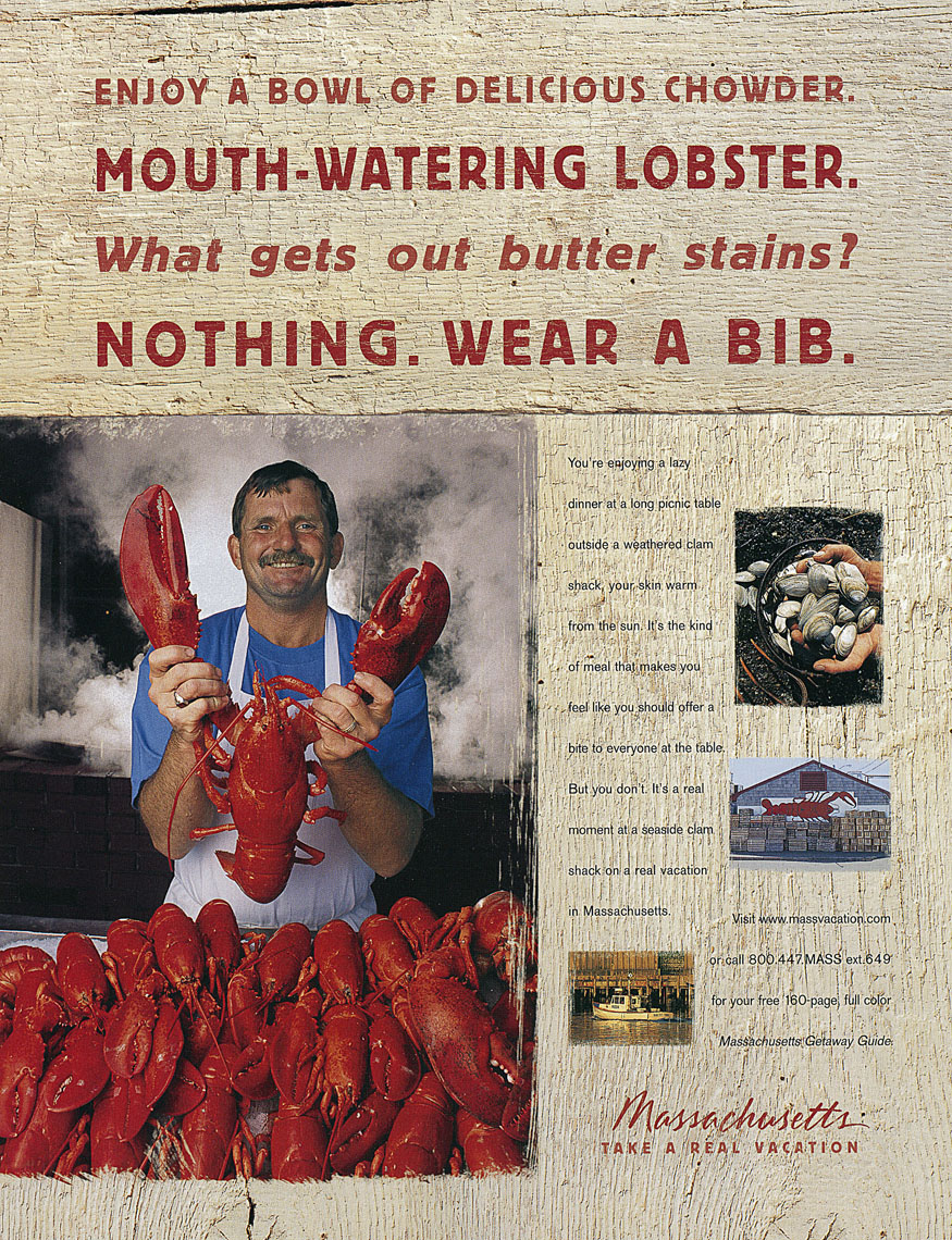 Ad for Massachusetts Travel, lobsters