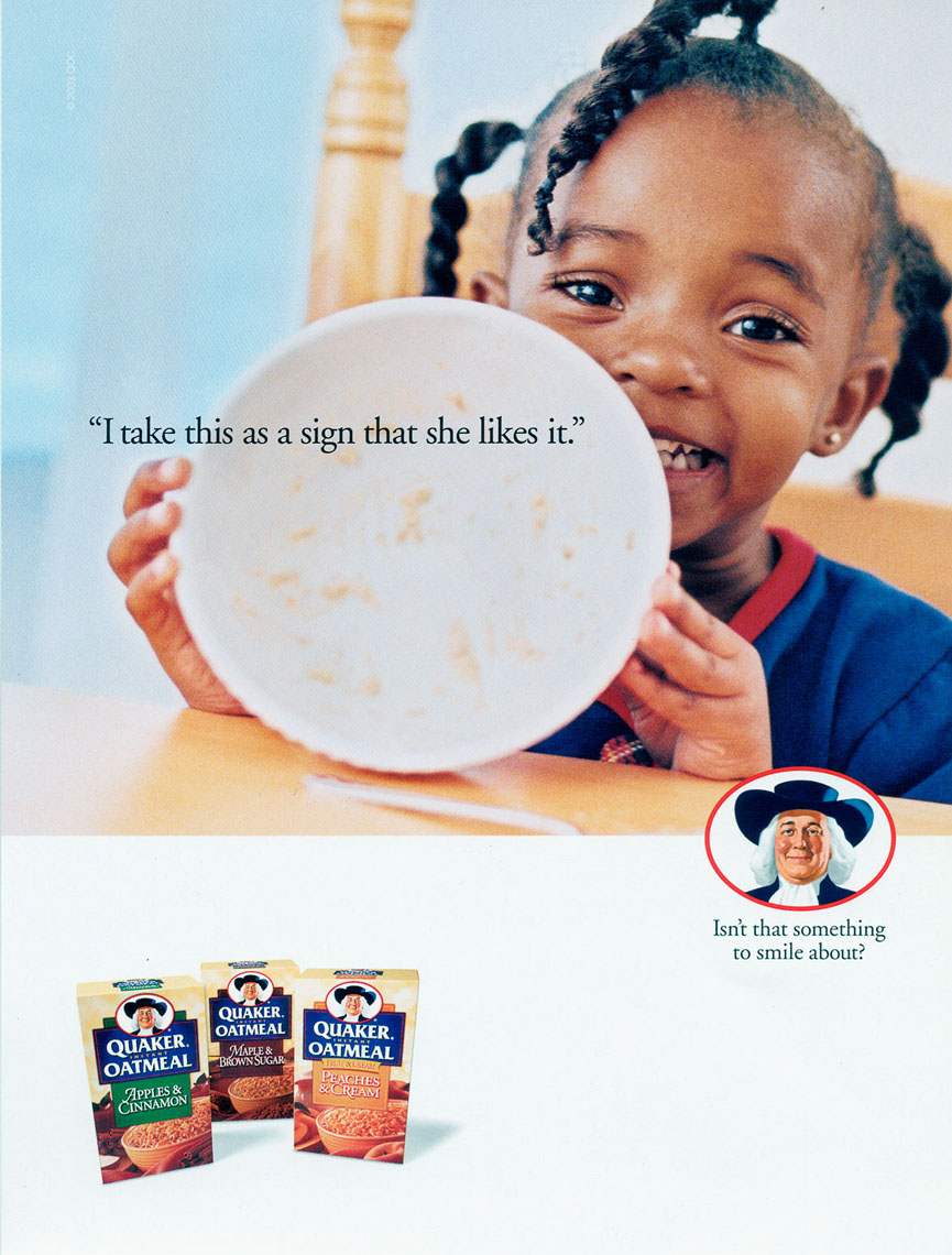 Ad for Quaker Oatmeal, a sign