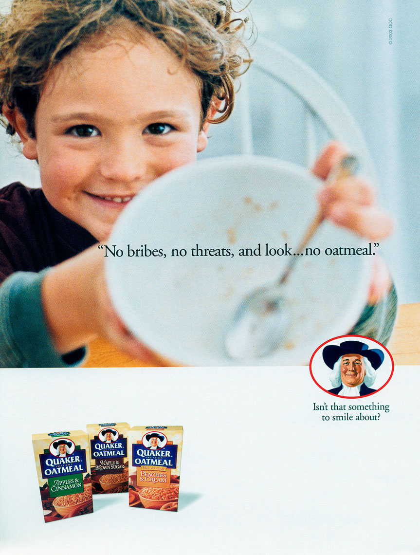 Ad for Quaker Oatmeal, no bribes