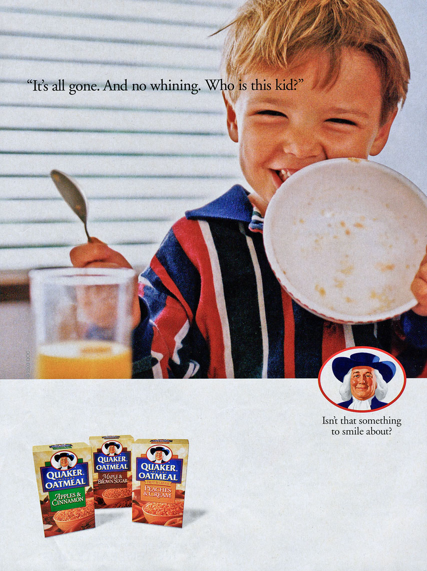 Ad for Quaker Oatmeal, no whining