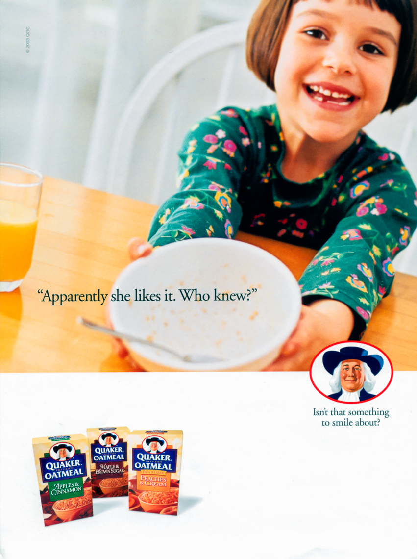 Ad for Quaker Oatmeal, she likes it
