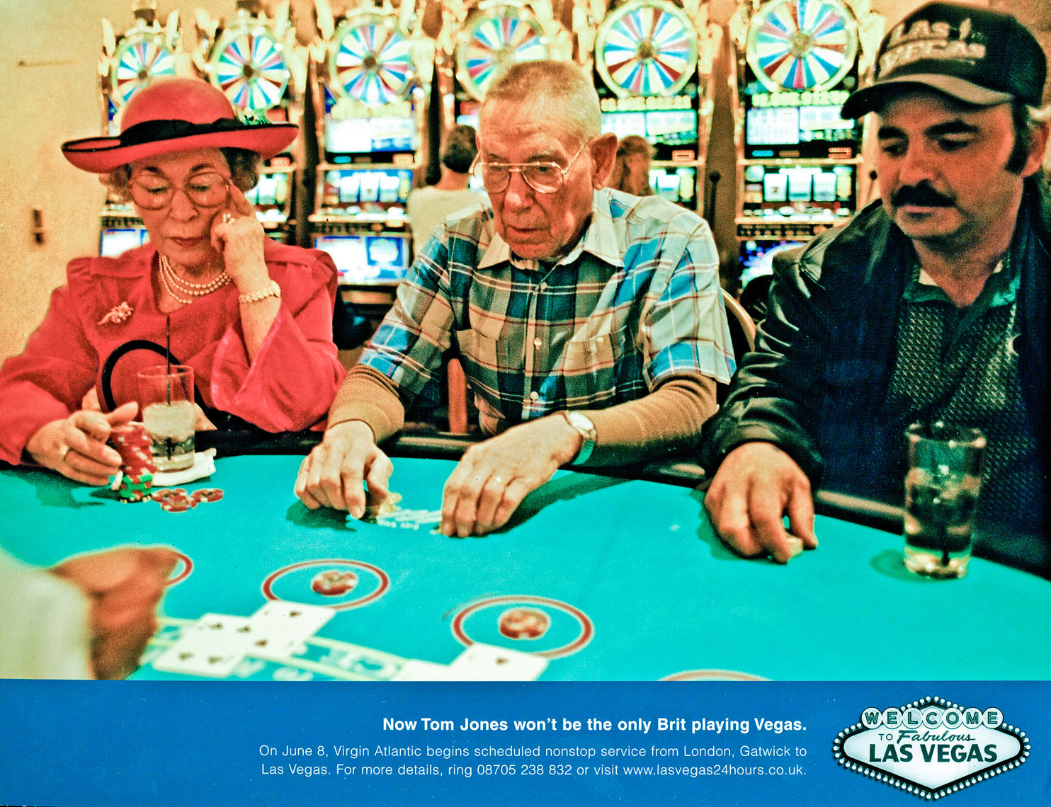 1073Ad for Virgin Atlantic %22 nonstops to Las Vegas %22  Queen in casino, agency- R & R Partners