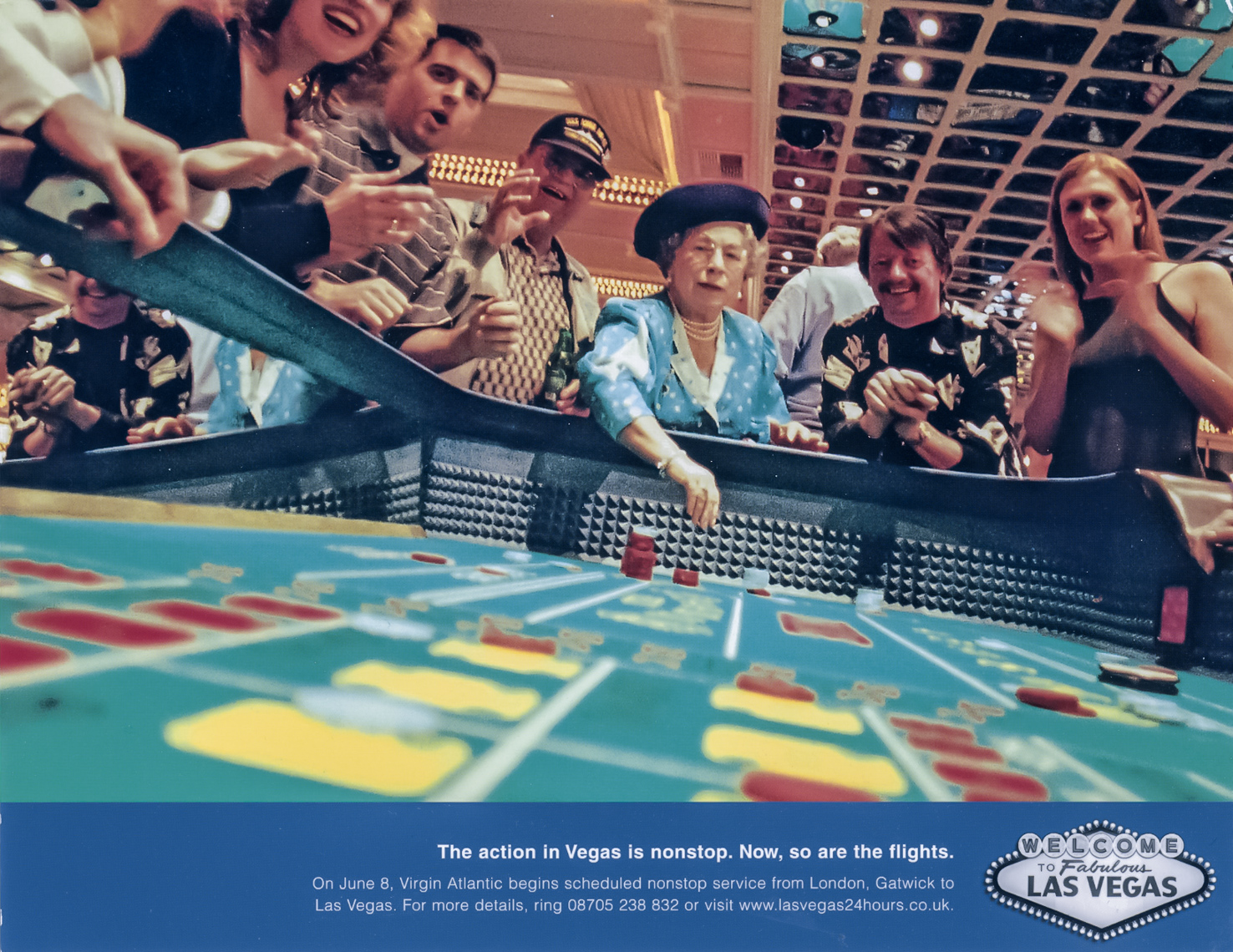 Ad for Virgin Atlantic %22 nonstops to Las Vegas %22  Queen shooting craps,  agency- R & R Partners