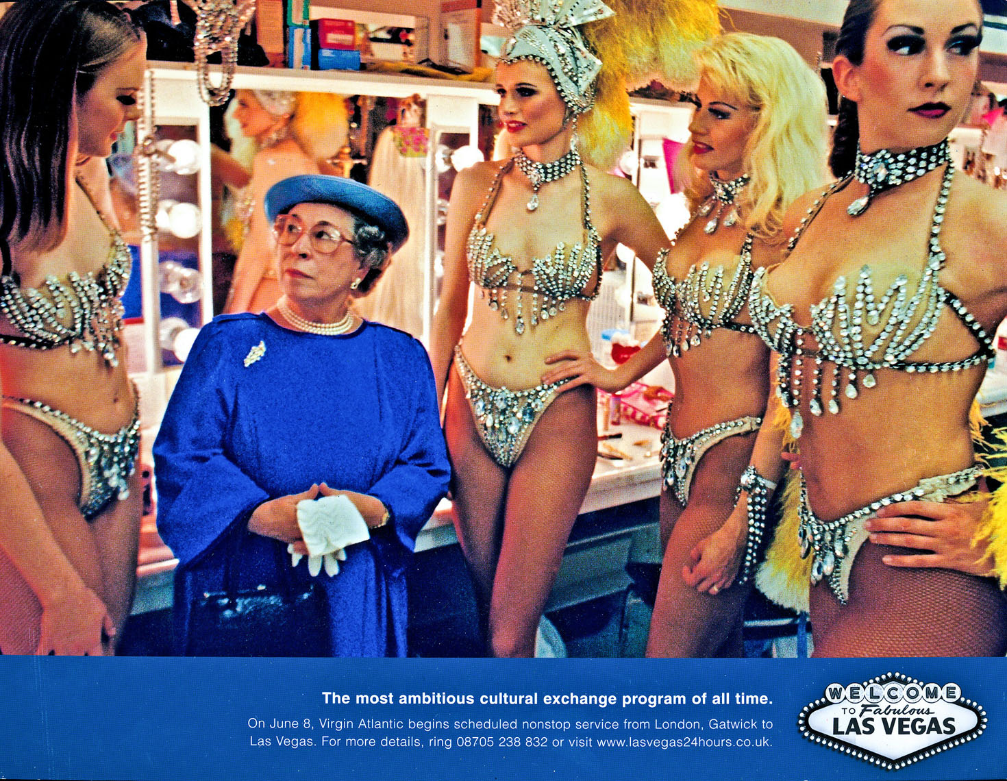 Ad for Virgin Atlantic %22 nonstops to Las Vegas %22  Queen with showgirls,  agency- R & R Partners