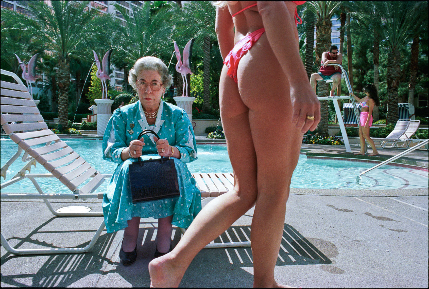 Ad for Virgin Atlantic %22 nonstops to Las Vegas %22 Queen poolside thong,  agency- R & R Partners