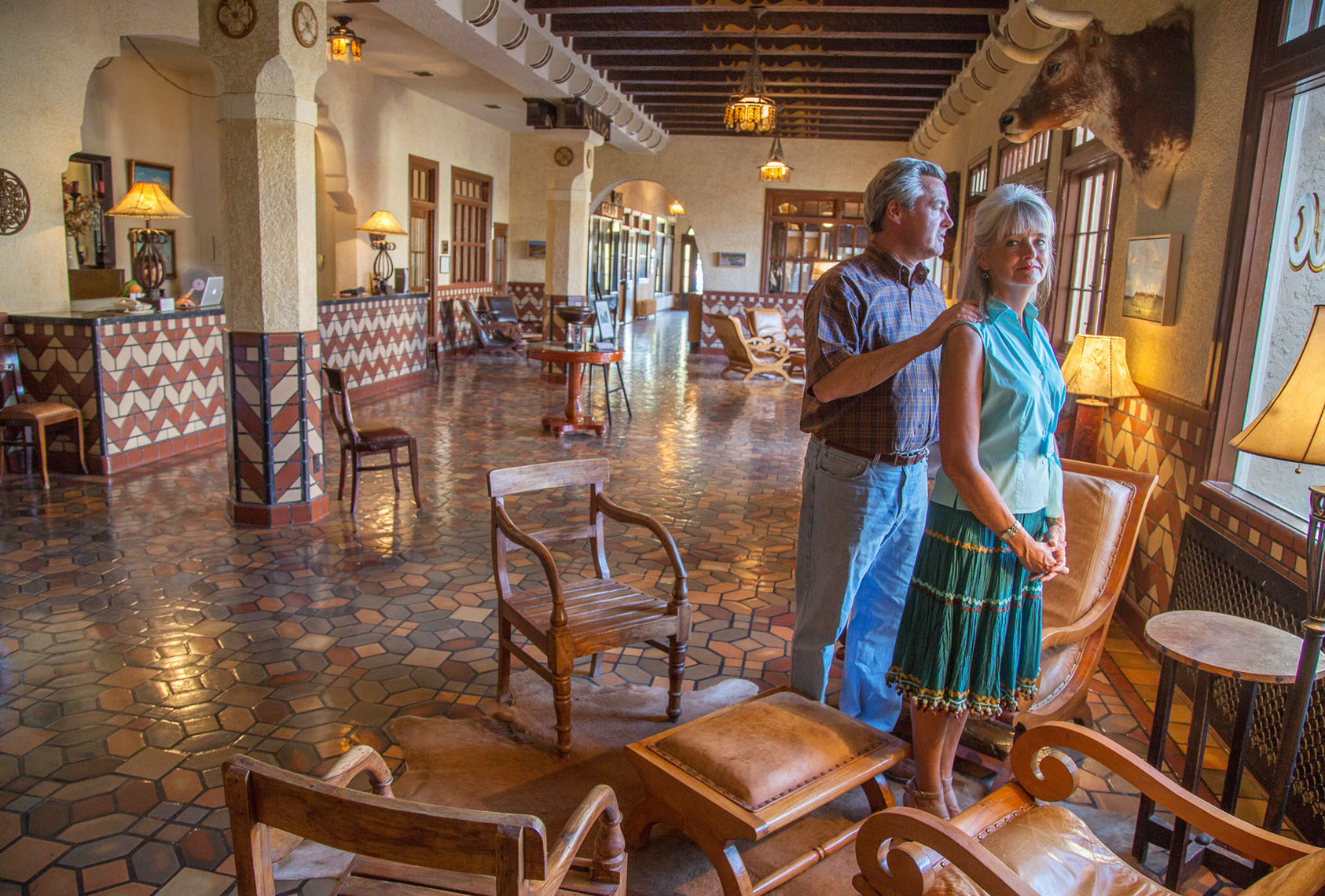 Joe and Lanna Duncan, El Paisano Hotel, Marfa, Texas Spanish baroque hotel