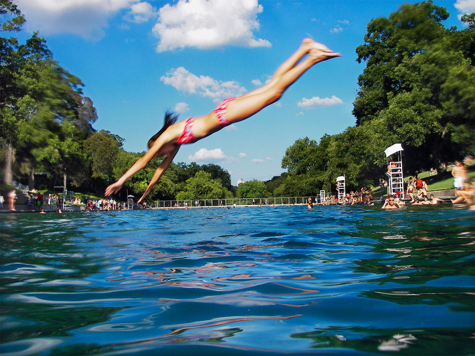 1148Barton Springs, Spring fed pool, girl diving in summer day
