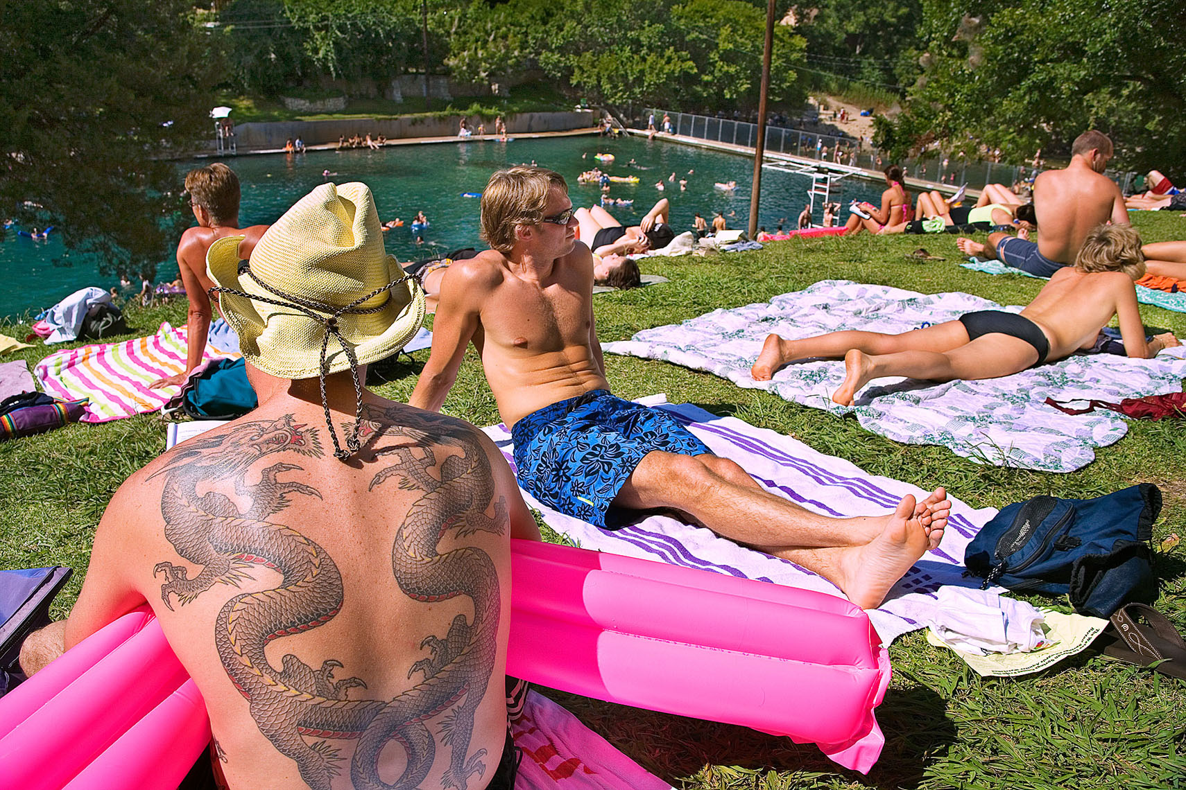 1154Barton Springs, Twin Dragons tatoo, sun bathers