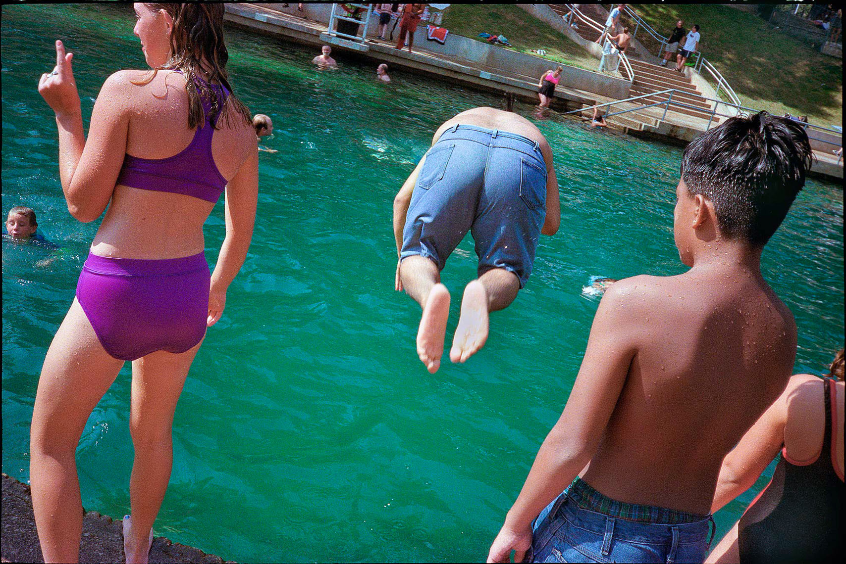 1155Barton Springs, Spring fed pool, boy cannonball dive, purple two piece