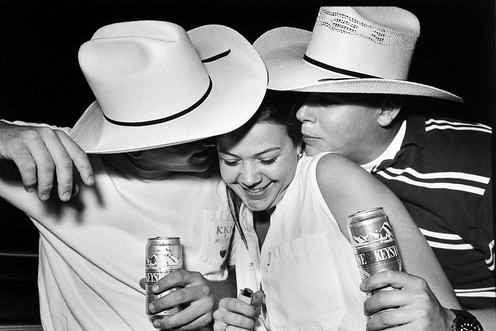 1167High School kids drinking beer, cowboy hats