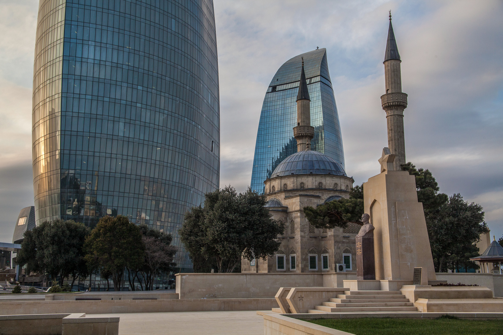 1201Baku Azerbaijan, the Flame Towers, mosque