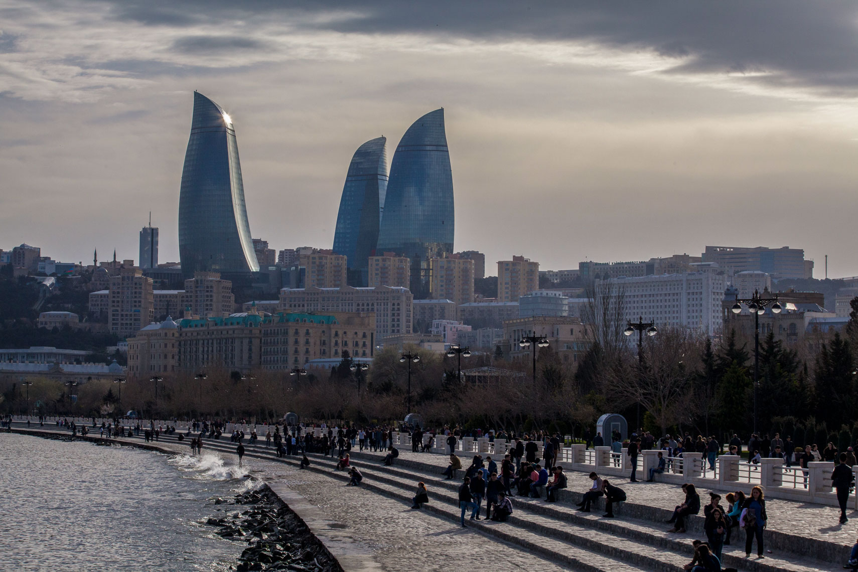 1204Baku Azerbaijan, the Flame Towers, Caspian Sea